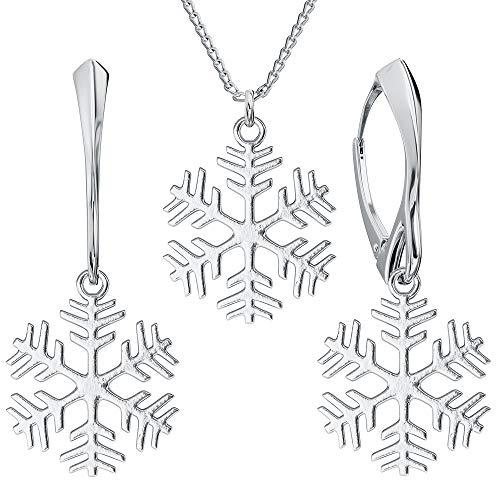 **Beforya Paris** Juego de joyas *nieve* invierno 2019 - Juego de pendientes y colgante con cadena de plata 925 - Joyas con estuche PIN/75