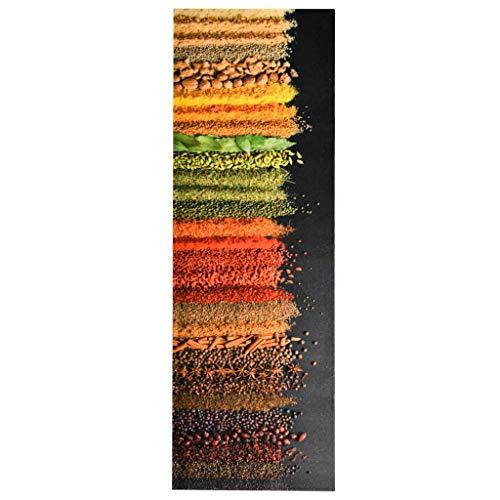 vidaXL Küche Bodenmatte Waschbar Gewürze rutschfest Fußmatte Läufer Flurteppich Teppich Küchenläufer Teppichläufer Küchenteppich 60x180cm