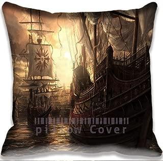 Big Ship Scenery Art Design Garden Pillow Case Cushion Cover 18x18Inch