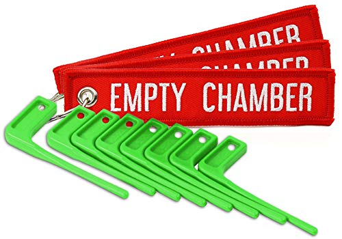 MB Gear Empty Chamber Safety Flag Kit 8 Neon Green Flags 3 Bright Red Tags Gun Rifles Firearms...