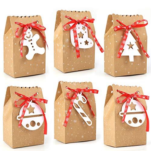 HOWAF 24 stück Weihnachts geschenktüten mit Griff Kraftpapier Weihnachten Geschenktaschen Papiertüten Süßigkeiten Tüten Weihnachtstüten für Weihnachts Gastgeschenke Kindergeburtstag Mitgebsel