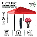 kdgarden 10 x 10-Feet Easy Pop Up Canopy Portable Instant Canopy Shelter for Outdoor Party and Commercial Use, 300D Silver Coated UV Canopy Tent with Wheeled Carry Bag, Red