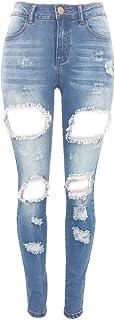 女性の破れたボーイフレンドジーンズスタイリッシュなパンツスリムフィットカジュアルな破れた穴ストレッチトレンディなジーンズ (Size : M)