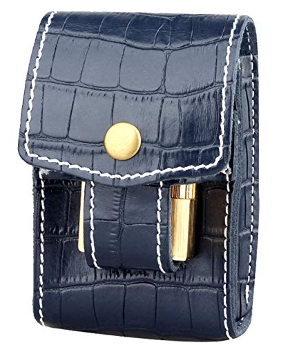 HWT シガレットケース 収納 レザー ポーチ ケース ベルト 装着 たばこケース レザーポーチ シガーポーチ シガー 紺色 バイク 腰ベルト (ダークブルー)