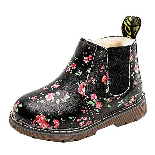 SOMESUN Mädchen Winter Warme Stiefel Kinds Weich Plüsch Lederstiefel Prinzessin Blumen Schneeschuhe Schuhe Freizeit Wasserdicht rutschfest Winterstiefel Winterschuhe (29 EU, Schwarz #2)