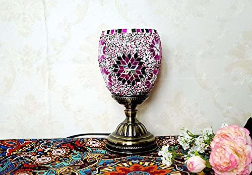 HHYHOME Lámpara de Mesa turca de Vidrio Mosaico Habitación Decorativa Lámpara de Escritorio Luz de Noche con Bronce de decoración de Metal para Dormitorio Sala de Estar Estilo marroquí,3