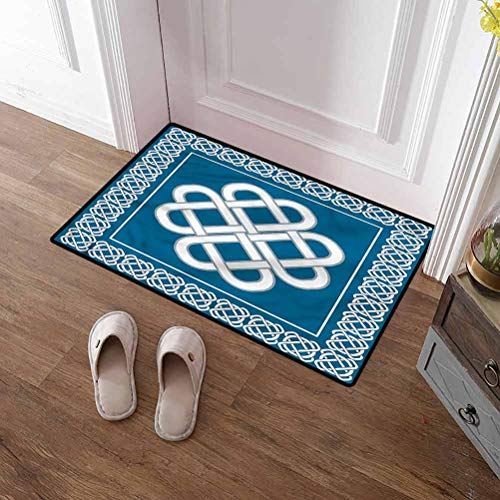 Custom&blanket Front Door Mat Irish Nursery Rug Playmat Rugs Celtic Love Knot Symbol for Home/Office/Bedroom 20x32 inches