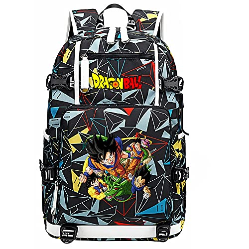 ZZGOO-LL Dragon Ball Son Goku/Vegeta IV Anime Backpack Middle Student School Rucksack Daypack for Women/Men with USB-G