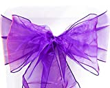 Set of 10 Chair Bows Sashes Tie Back Decorative Item Cover ups for Wedding Reception Events Banquets Chairs Decoration (10, Purple)