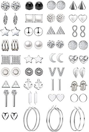 39 pares surtidos de múltiples aretes de joyería conjunto con tarjeta para mujeres niñas simple aro conjunto de pendientes (Estilo 2)