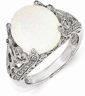 Cheryl M Plata De Ley circonitas cúbicas y anillo de imitación de ópalo anillo–tamaño opciones gama: L a P
