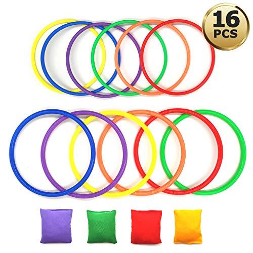 YuChiSX 16 stücke Kunststoff Toss Ring Werfen Spiel Sets für Kinder,Sitzsäcke Werfen Legged Race für Geschwindigkeit und Beweglichkeit Übungsspiele, Karneval,Spiele im Freien, Kinder Toss Ring Spiel