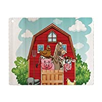 iPad 8 ケース 2020 iPad 10.2 ケース 第7世代 2019 漫画の装飾コレクション納屋の幸せな家畜鶏豚馬国内の田舎の芸術的なプリント緑赤 軽量 傷防止 オートスリープ ウェイク スマートケース iPad 10.2インチ ハードカバー