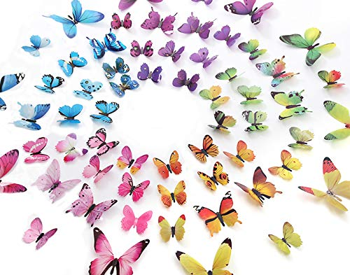 Eoorau 60PCS Butterfly Wall Decor for Wall3D Butterflies Wall Stickers Removable Mural Decals Home Decoration Kids Room Bedroom Decor 5Colors