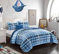 Idea Nuova, Blues Better Homes & Gardens Navy Plaid Reversible Quilt Set, Full/Queen