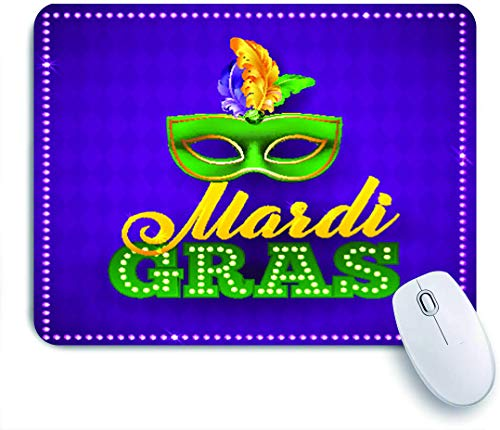 Marutuki Gaming Mouse Pad Rutschfeste Gummibasis,Mardi Gras Party Lichter und Federn,für Computer Laptop Office Desk,240 x 200mm