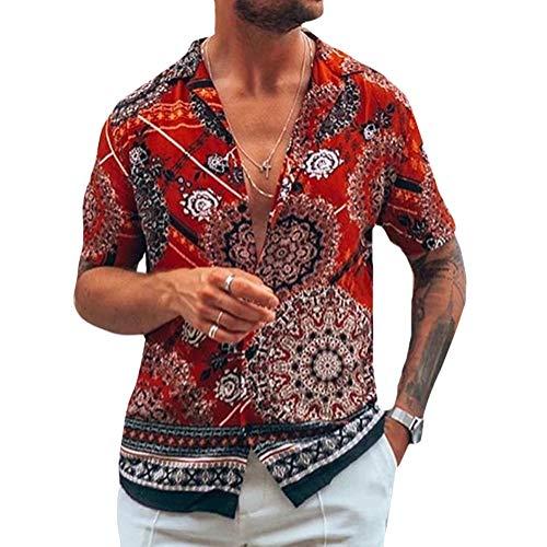 Onsoyours Camicie Uomo Maglia A Maniche Lunghe Slim Fit Elegante Stampato Floreale Camicia con Bottoni Hawaiana Uomo Stampa Leopardata Casuale Regular Fit G Rosso X-Large