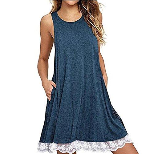 Price comparison product image TLOOWY Women Summer Sleeveless Tank Dress Loose Lace Crochet Swing T-Shirt Dress Beach Sundress (Blue,  XL)