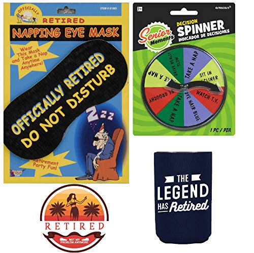 Retirement Survival Kit Gag Gift - Retired Eye Mask, Decision Spinner, Cup Coolie and Button, Funny Retirement Gift for Men and Women