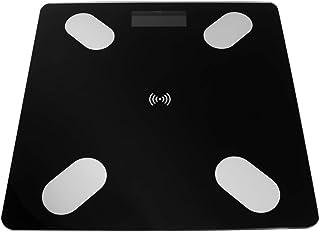 Báscula de grasa corporal cuadrada inteligente, electrónica, Bluetooth, LED, digital, sin batería, color negro, con patrón de batería Blueteeth
