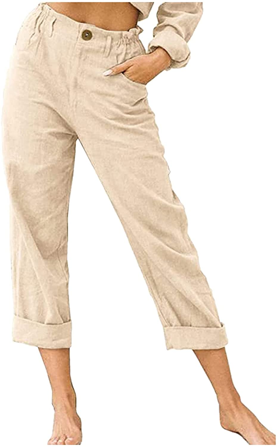 WOCACHI Casual Pants for Women Solid Linen Button Elastic Waist Roll Up Trousers Summer Cropped Palazzo Capris Pants