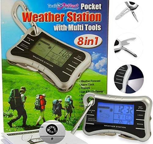 Mini réveil station météo numérique – Horloge de voyage multi-outils avec décapsuleur, porte-clés, boussole et lampe de poche