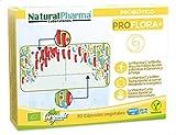 NaturalPharma Probiótico Ecológico ProFlora+. Recuperación de Daños por Antibióticos. Vitamina C + Vitamina B2 + Folato. Cápsulas Smart BioCaps®. (Sin Gluten, Sin Lactosa, Vegano).