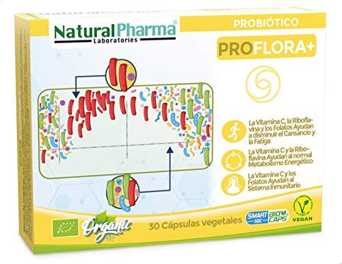 Natural Pharma Labs. Probiótico Ecológico ProFlora+. Recuperación de Daños por Antibióticos. Vitamina C + Vitamina B2 + Folato. Cápsulas Smart BioCaps®. Sin Gluten, Sin Lactosa, Vegano.