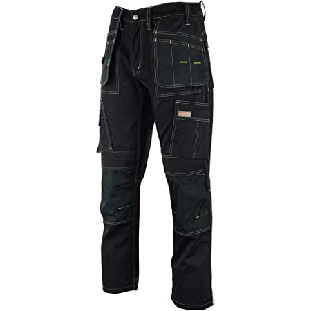 WrightFits Men Pro Builder Work Trousers Black - Heavy Duty Safety Combat Cargo Pants - Multi Pockets - Knee Pad Pockets - Triple Stitched - Durable Workwear (30W to 42W)