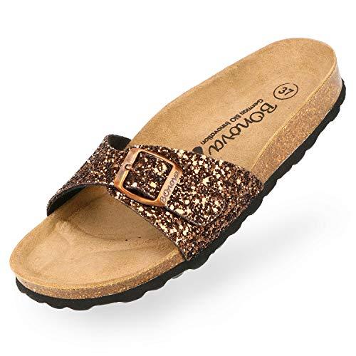 BOnova Damen Pantoletten Teneriffa in 10 Farben, modischer Einriemer mit Korkfußbett - komfortable Sandalen zum Wohlfühlen - hergestellt in der EU Glitter Bronze 38