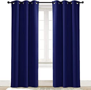 NICETOWN Living Room Curtain Window Treatment Energy Saving Thermal Insulated Solid Grommet Blackout Drape/Drapery (Dark Blue, Sold Individually, 42 by 84-inch)