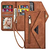 Kudex Galaxy Note 8 Wallet Case for Women,Envelope Book Design Flip Folio Leather Kickstand Protective Wallet Clutch Purse Case with 7 Card Holder Money Pocket Strap for Galaxy Note 8 2017(Brown)