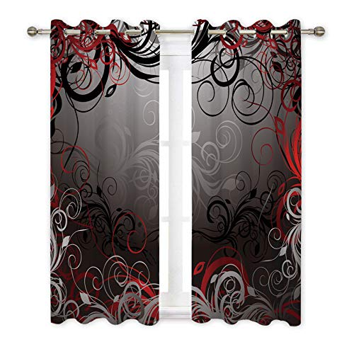 Misscc Decorative Blackout Curtains,Black, Red and Gray Floral Background with Pattern,Living Room Bedroom Kitchen Cafe Curtains, Window Treatments Drapes 2 Panel Set