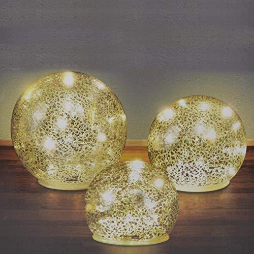 DRULINE 3er Set Glaskugeln LED beleuchtet Stimmungslichter Lichter Kugellampe Dekorativ Innenbeleuchtung im warmen weißton batteriebetrieben | D 10 cm 12 cm 15 cm | Warm Weiß
