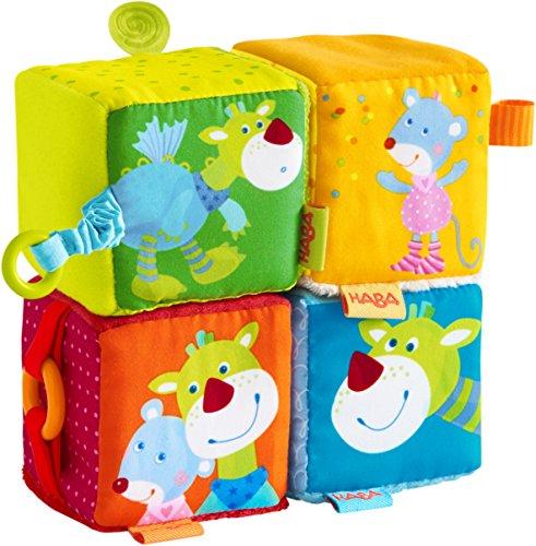 HABA 303878 - Spielwürfel Maus Merle & Drache Duri | 4 Bunte Stoffwürfel mit vielen Spieleffekten und Rattermotor | Baby-Spielzeug ab 6 Monaten