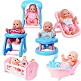 WolVolk WV Gifts Set of 6 Mini Dolls for Girls with Cradle, High Chair, Walker, Swing, Bathtub, Infant seat