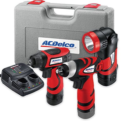 ACDelco ARD847Li Cordless 8V Li-ion compact Drill/Driver Impact Wrench 3 PC Combo Kit with Case, LED Work Light, 2-Port Charger, and 2 Batteries