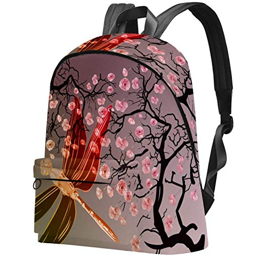 Alas de libélula de Flor de Cerezo Bolso Adolescentes Mochila Escolar Mochilas livianas Mochila de Viaje Mochilas diarias