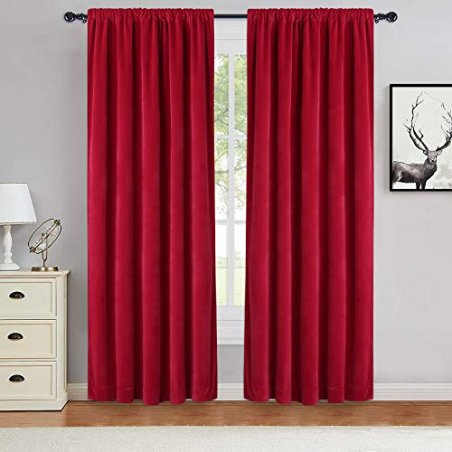 Haperlare Red Velvet Curtains Super Soft Thick Velvet Texture Christmas Decorative Drapes Room Darkening Window Treatment Set Soundproof Privacy Panel Blinds, W42 x L63 inches, 2 Panels