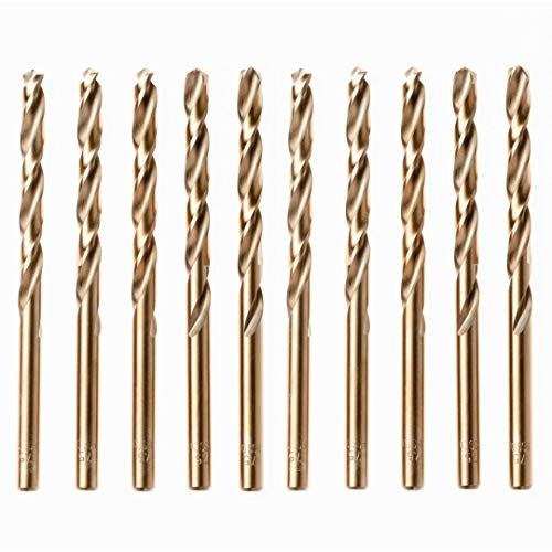 Box of 10 x HSS Gold Cobalt Jobber Drill Bit for Stainless & Hard Steels. Drills. UK Seller (2mm x 49mm (5/64') Cobalt Jobber Drills)