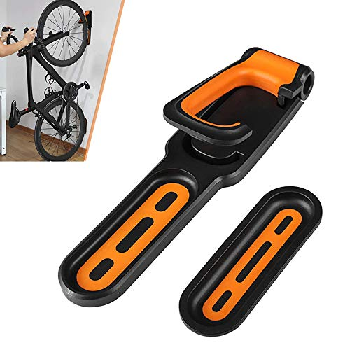 Bike Rack Hanger, Pedal to Wall Bracket Bicycle Wall Mount Bike Rack for Wheel Frame Parking Mountain Bike, Road Bike (Yellow)