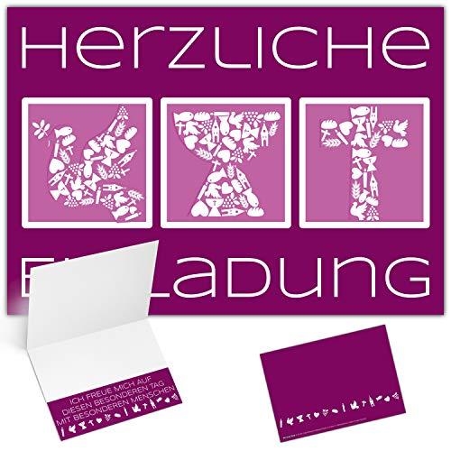 12 Einladungskarten Konfirmation Kommunion Firmung Taufe SYMBOLE - edle Klappkarten in Violett für Mädchen & Jungen Einladung Karten von BREITENWERK