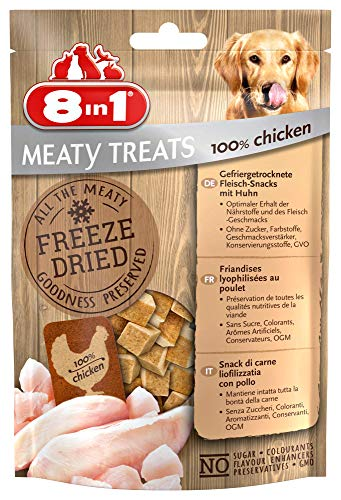 8in1 Meaty Treats, vriesgedroogde honden lekkerlis, vrij van drijvende dranken en zonder suiker (1 zak, 50 g), kip