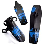 FETESNICE Adjustable MTB Bike Fender, Front/Rear/Downtube Mud Guards, Bicycle Mudguards Set (Blue)
