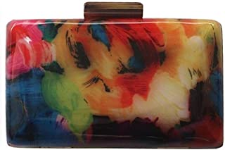 Redland Art Women's Fashion Mini Acrylic Clutch Bag Wristlet Catching Purse Evening Handbag for Wedding Party (Color : Colourful)