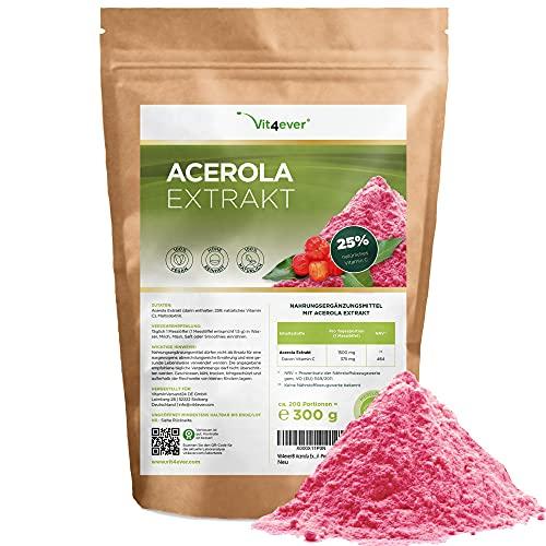 Acerola in polvere - 300 g (fornitura per 6,6 mesi) - Vitamina C naturale - 200 dosi giornaliere con 1500 mg di estratto puro di ciliegia acerola - Vegan