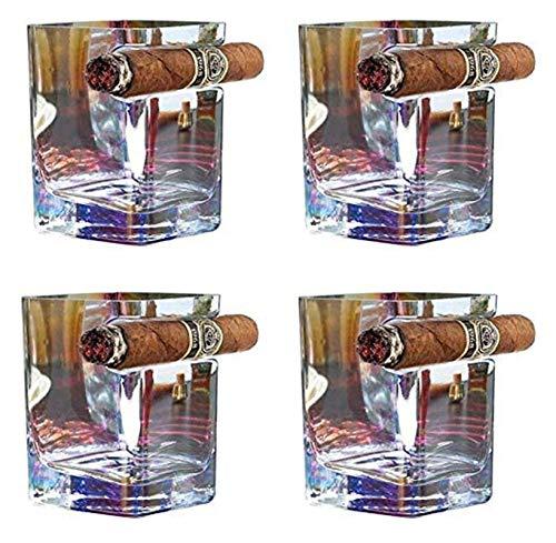 WHZG Vidrio de whisky de cristal de estilo antiguo, de 260 ml Capacidad artesanal de color de cigarro de cristal, adecuado para el whisky, whisky, cerveza, vino, espíritu 714