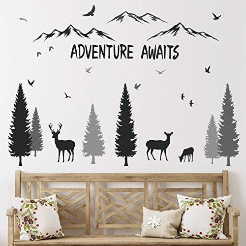 HONEYJOY Woodland Nursery Decor Tree Wall Decals Inspirational Quote Mountain Forest Animal product image