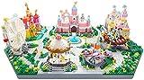 Pink Paradise Three-One Diamond Particle Fantasy Castle Ferris Wheel Bloques De Construcción Insertar Juguetes Creativos para El Regalo 7416Pcs +
