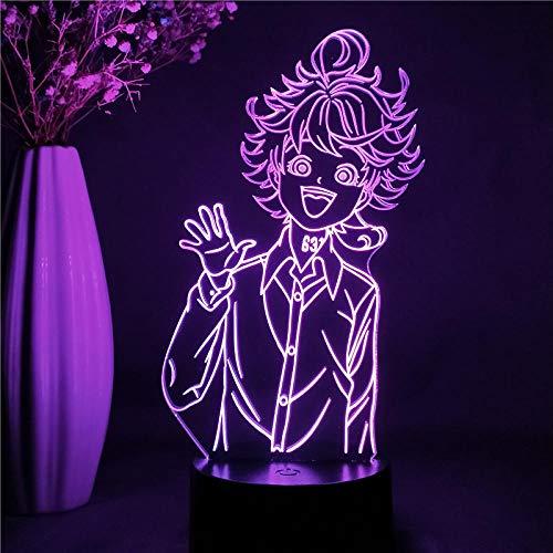 Luminária de ilusão 3D Anime The Promised Neverland Figura Emma LED Luz noturna Manga Estatueta 3D Lâmpada de mesa LED Luz noturna para crianças 7 cores Touch